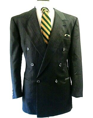 V2 By Versace Designer Stunning Suit Gray Emerald Green Striped Label Size 50R