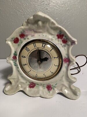 Vintage Lanshire Movement Electric Mantle Clock Porcelain-Ceramic Cherubs