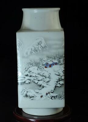 chinese old hand-made white glaze porcelain hand painted snow scene vase c01