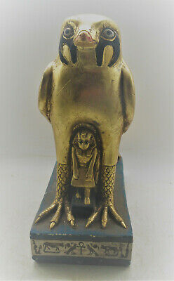 Beautiful Ancient Egyptian Gold Gilded Statuette Of Horus As A Falcon Superb
