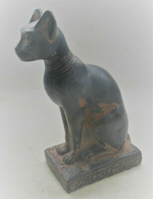 Beautiful Ancient Egyptian Black Stone Bastet Cat Statuette Scarce