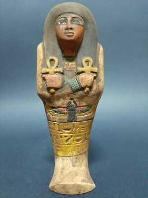 ANCIENT EGYPTIAN ANTIQUES USHABTI SHABTI With Hieroglyphics scarab And Ankh Ston