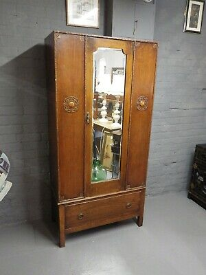 Vintage Art Deco Oak Small Wardrobe With Drawer And Mirror