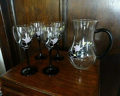 Vintage French Art Nouveau Wine Glasses & Jug Mid-Century Gin Glass Retro Quirky