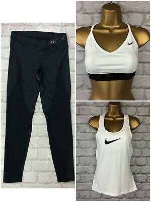 Nike Ladies Uk M 3 Pc Bundle Leggings Sports Bra Tank Top Gym Sports Active Cs