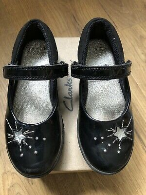 Girls Clarks Etch Spark Black School Shoes Size 9.5F