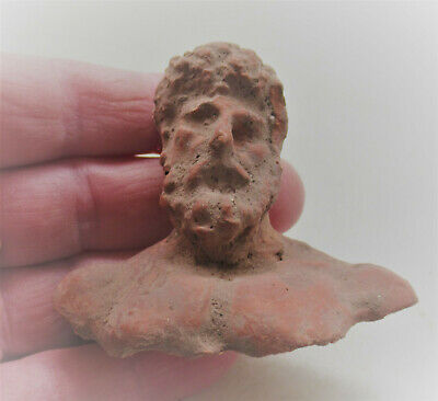 Scarce Ancient Greek Terracotta Statue Fragment Bust Of Zues 100Bce