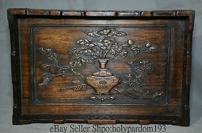 """13.6""""Old Chinese huanghuali Wood Carving Peony Flower Pot Vase Plate Tray Pallet"""