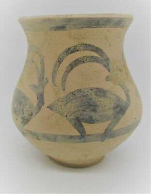 Ancient Indus Valley Harappan Terracotta Vessel With Stag Motifs 2000 Bc
