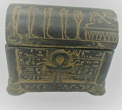 Circa 664 - 332 Bce Ancient Egyptian Black Stone Box With Heiroglyphics