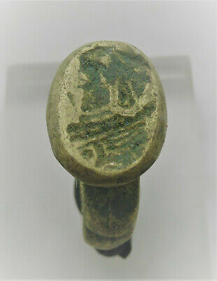 Old Ancient Roman Style Bronze Ring With Ruler Depiction