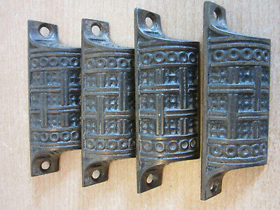 """4pc 1890 Antique Victorian Aesthetic Cast Iron drawer cabinet pulls 3 1/4"""""""