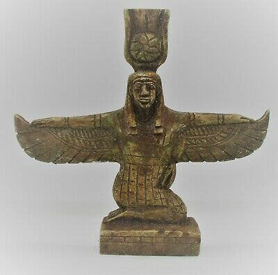 Beautiful Old Antique Glazed Stone Egyptian Statuette Of Winged Isis