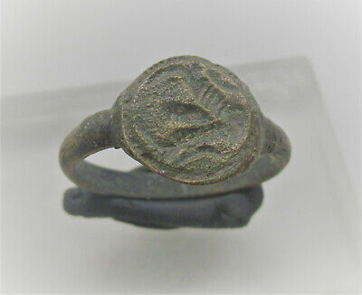 Ancient Roman Bronze Seal Ring With Bull Head Impression On Bezel