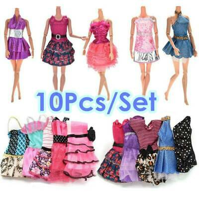 10Pcs Different Style Dresses Clothes Set Barbie Doll Casual Party Decor Dress