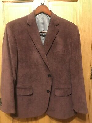 Geoffrey Beene Mens Burgundy Corduroy Jacket Sport Coat Blazer 2 Button 44S