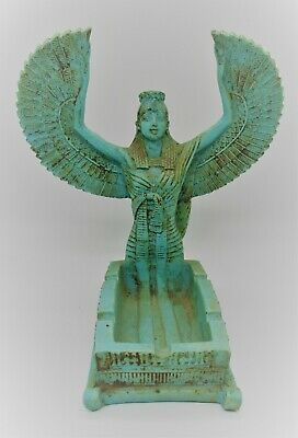 Beautiful Ancient Egyptian Glazed Faience Statuette Of Winged Isis