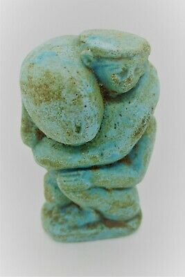 Circa 500Bce Ancient Egyptian Glazed Faience Statuette Snake And Ptah Rare