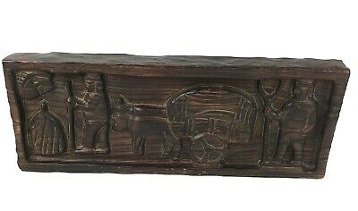 Vtg Hand Carved Wood Panel Men Farming Cart Animals Ethnic Wall Hanging Plaque