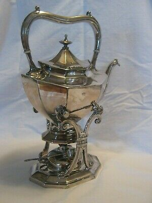 Rare Reed & Barton tilting teapot w/stand & capped heater.Silver plate.Pre-1900