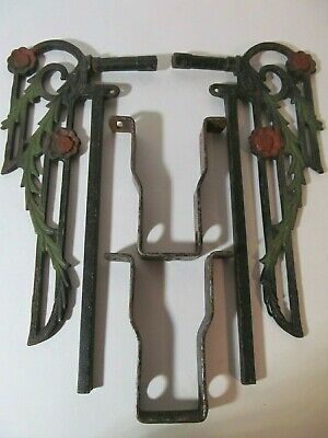 Antique Victorian Set of Cast Iron Floral Curtain Tie Back with Bracket