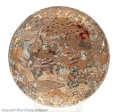 Large Gilded Japanese Antique Satsuma Ware Pottery Dish with Samurai Warriors