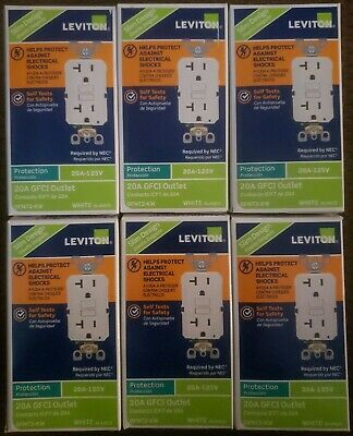 6-Leviton White SmartlockPro Self-Test Rounded Corner GFCI Outlet R02-GFNT2-0KW
