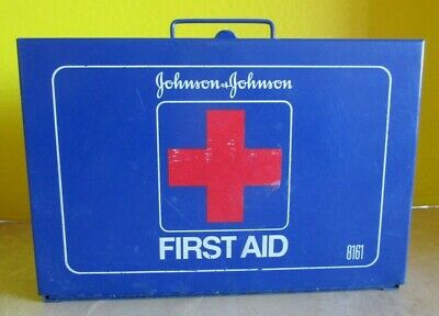 VTG Johnson and Johnson First Aid Emergency Kit Metal Wall Box w/ Contents #8161