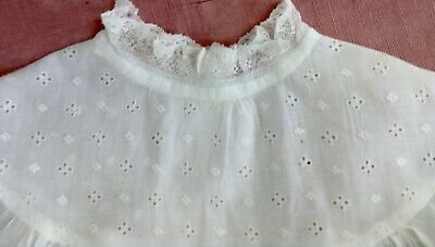 """antique long christening gown white cotton, eyelet+lace trim, 34.5"""" long, v good"""