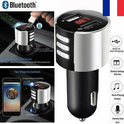 Transmetteur FM Radio USB Multi-fonctions MP3 Bluetooth Chargeur Allume Cigare