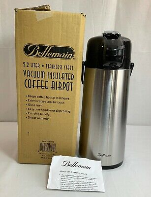 Bellemain 2.2 Liter Airpot Coffee Dispenser with Pump, Stainless Steel Vacuum