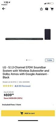 Open-Box Excellent: LG - 5.1.2-Channel 570W Soundbar System with Wireless Sub...