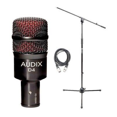 Audix D4 Kick/Bass Drum Microphone w/ 20ft XLR Cable and Boom Stand NEW