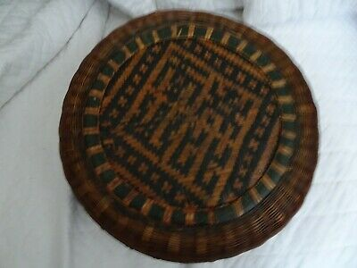 OLD chinese Double Woven Basket with lid Vtg