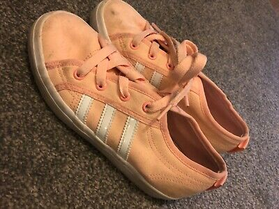 Adidas girls pale coral nizza trainers size 2
