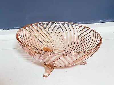 "Vintage Pink Depression Glass 8.5"" three-foot Spiral Optic Swirl 3 Footed Bowl"