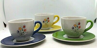 Picasso Hands & Flowers Demitasse Cups & Saucers set of 3 Masterpiece Editions