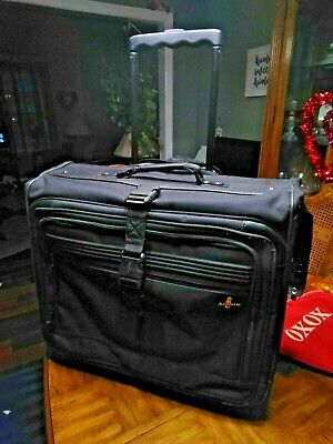 "ATLANTIC GARMENT SUIT BAG Suitcase Luggage  Black Nylon 24""x 20""x 9"" Clean"