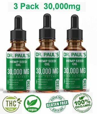 3 Pack Hemp Oil Drops For Pain Relief, Stress , Anxiety, Sleep - 30,000 mg