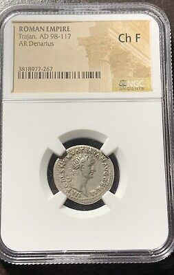 Ancient Roman Empire Trajan AD 98-117 Silver Denarius NGC CH F Great Roman Coin