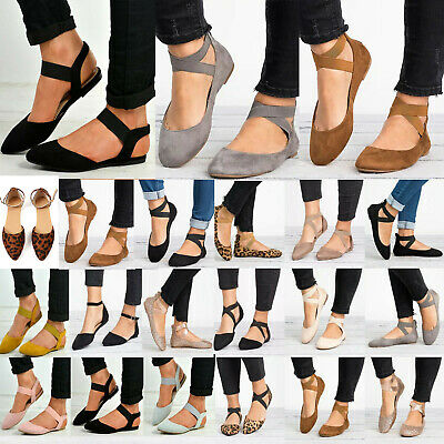 Womens Ballet Ballerina Flats Ankle Strap Dolly Slip On Casual Pumps Shoes Size