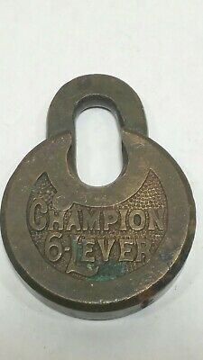 Antique Old Vintage brass Padlock Champion 6 Lever, with no Key to tested