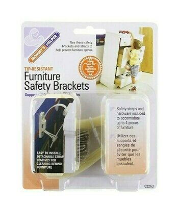 Mommy's Helper Tip Resistant Furniture Safety Brackets-8 Count (1 PACK)