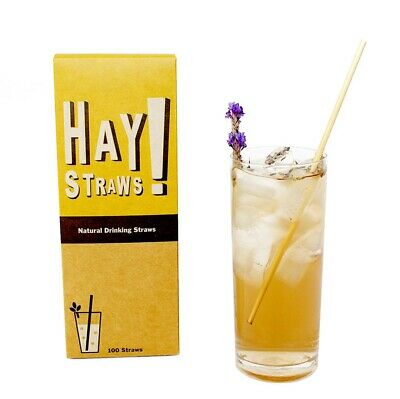 100/pack 100% Biodegradable Wheat Cocktail Straws!Gluten Free Tall 7.75""