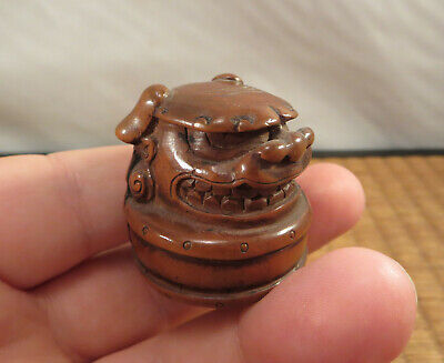 Antique Japanese Wooden Netsuke of ShiShi Dance Mask & Taiko Drum Japan 1.25""