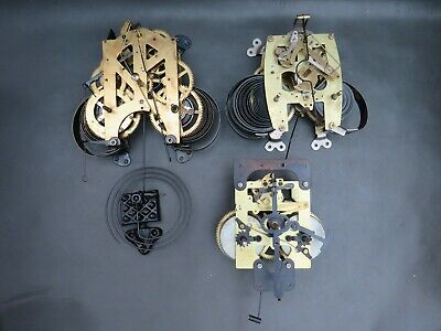Job lot of 3 Vintage wall clock movements & a chime for repair or parts