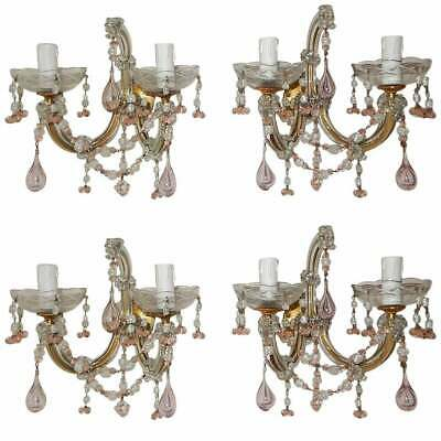 1920 French Set of Four Pink Murano Blown Glass Drops and Beads Sconces