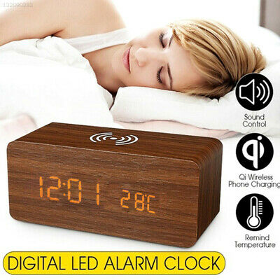 Wooden Alarm Clock Digital Thermometer Clock Wireless Charging Phone Charger