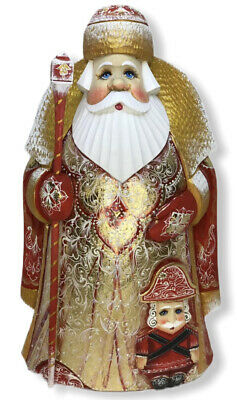 """Hand Carved Painted Wooden Santa Claus 11.02"""" 28cm And Nutcracker"""