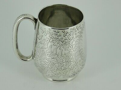 Lovely Victorian Solid Sterling Silver Christening Mug Cup Sheffield 1879 130G